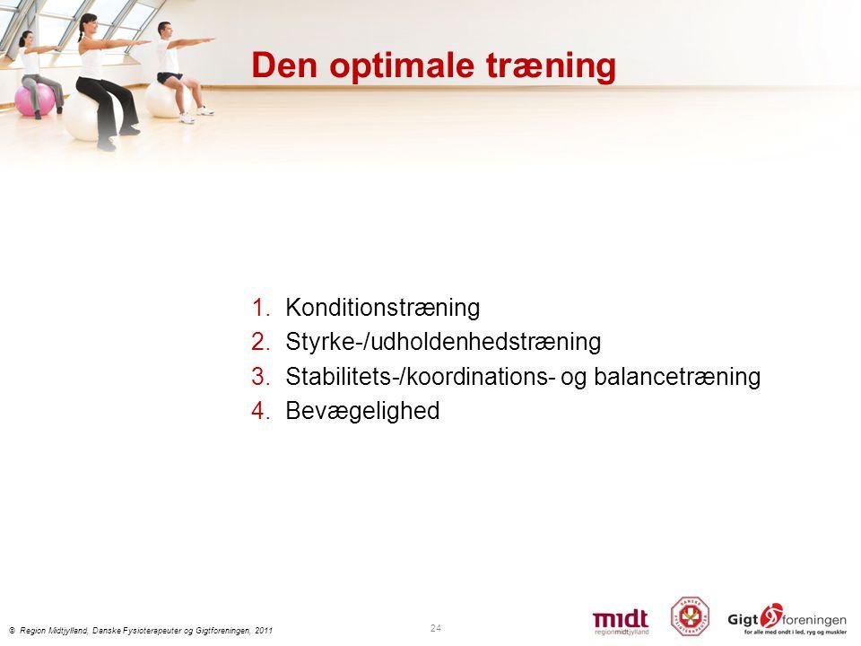 Den optimale træning Konditionstræning Styrke-/udholdenhedstræning
