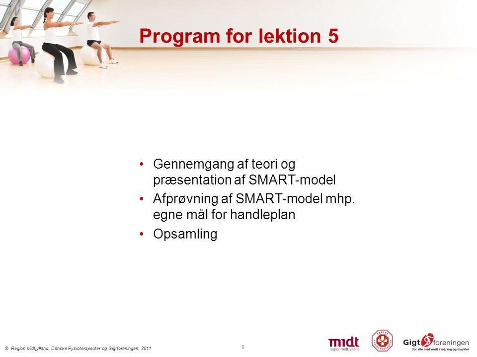 Program for lektion 5 Gennemgang af teori og præsentation af SMART-model. Afprøvning af SMART-model mhp. egne mål for handleplan.