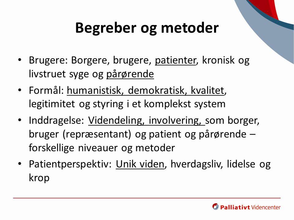 Begreber og metoder Brugere: Borgere, brugere, patienter, kronisk og livstruet syge og pårørende.