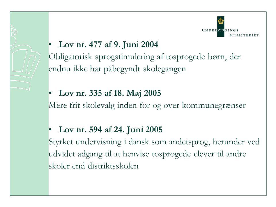 Lov nr. 477 af 9. Juni 2004 Obligatorisk sprogstimulering af tosprogede børn, der. endnu ikke har påbegyndt skolegangen.