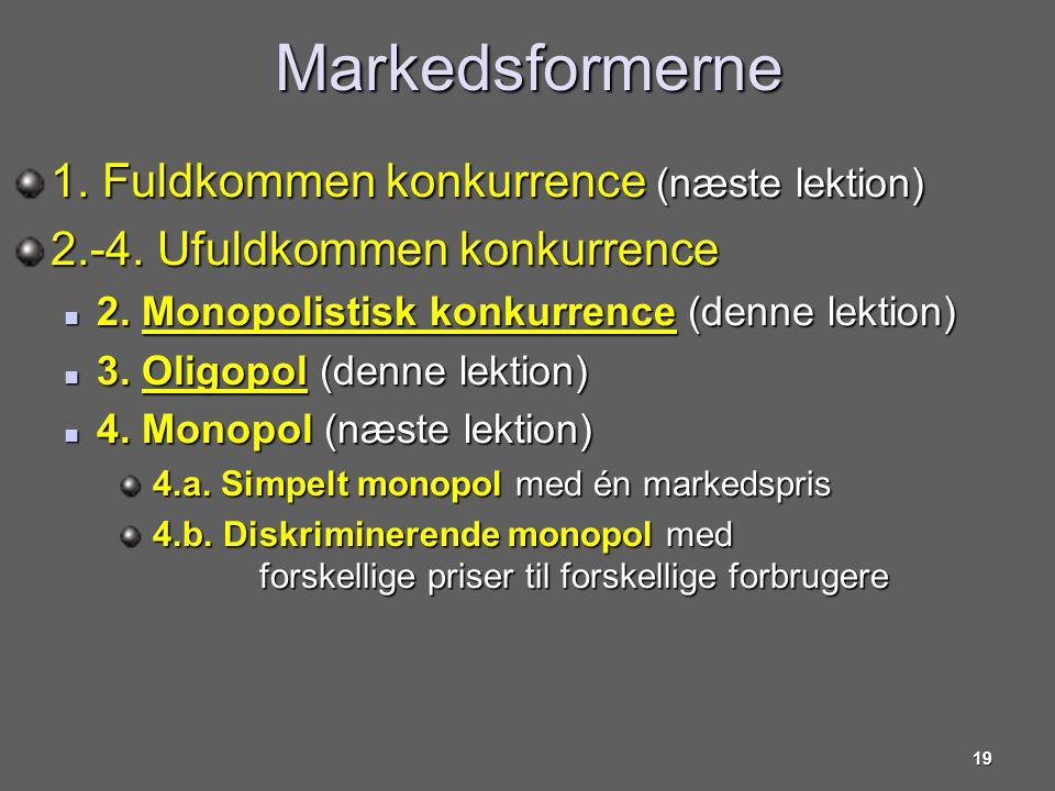 Markedsformerne 1. Fuldkommen konkurrence (næste lektion)
