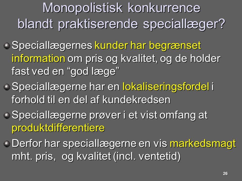Monopolistisk konkurrence blandt praktiserende speciallæger