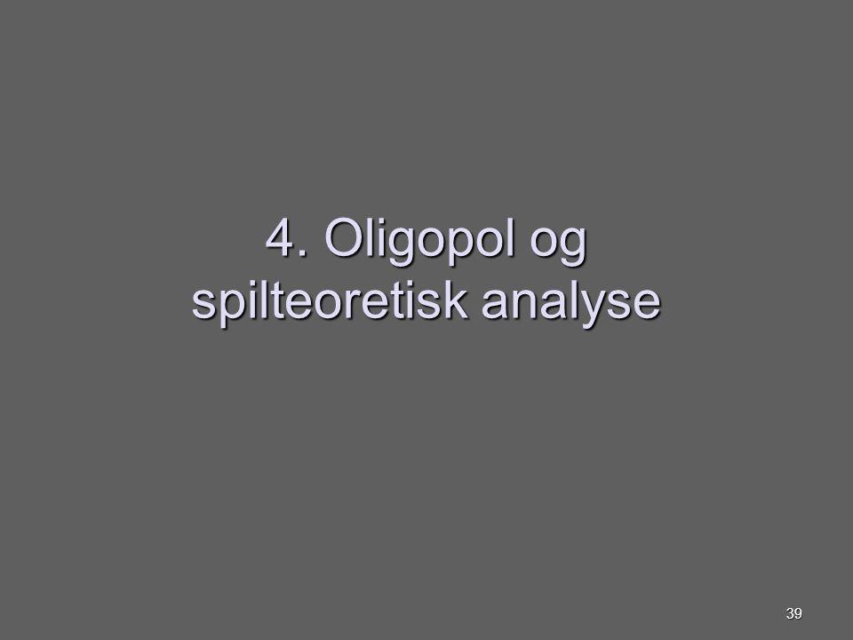 4. Oligopol og spilteoretisk analyse