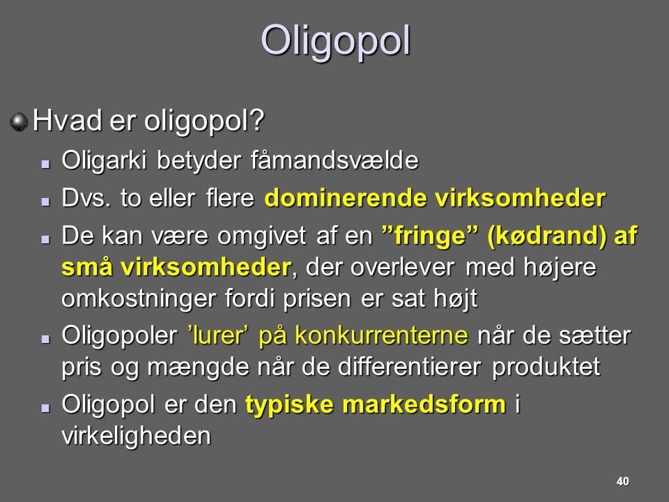 Oligopol Hvad er oligopol Oligarki betyder fåmandsvælde