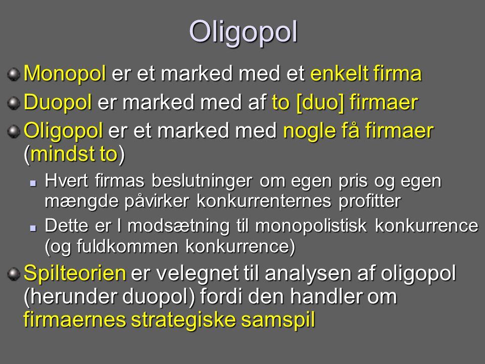 Oligopol Monopol er et marked med et enkelt firma