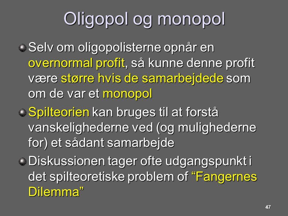 Oligopol og monopol