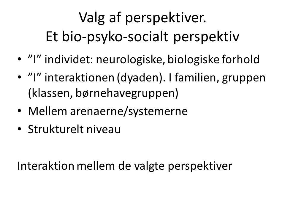 Valg af perspektiver. Et bio-psyko-socialt perspektiv