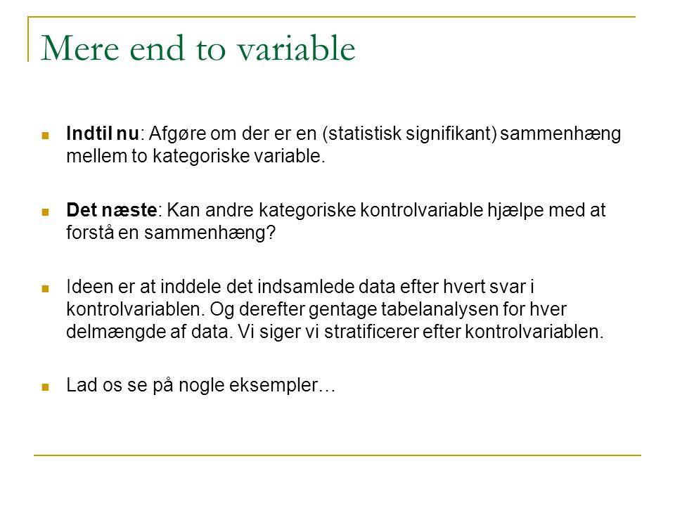 Mere end to variable Indtil nu: Afgøre om der er en (statistisk signifikant) sammenhæng mellem to kategoriske variable.