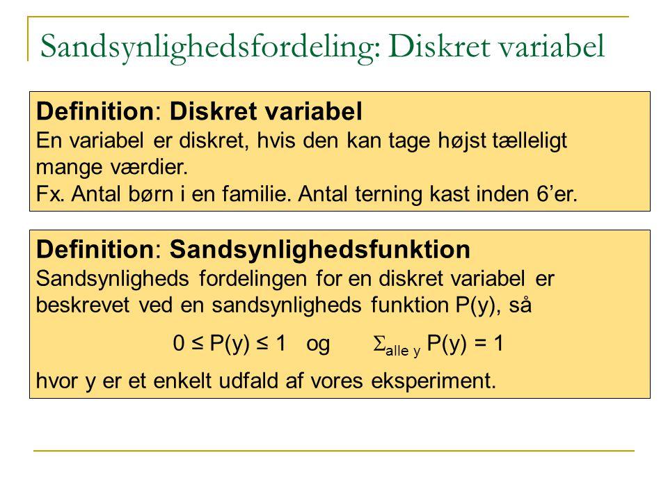 Sandsynlighedsfordeling: Diskret variabel