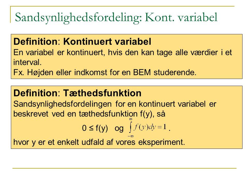 Sandsynlighedsfordeling: Kont. variabel