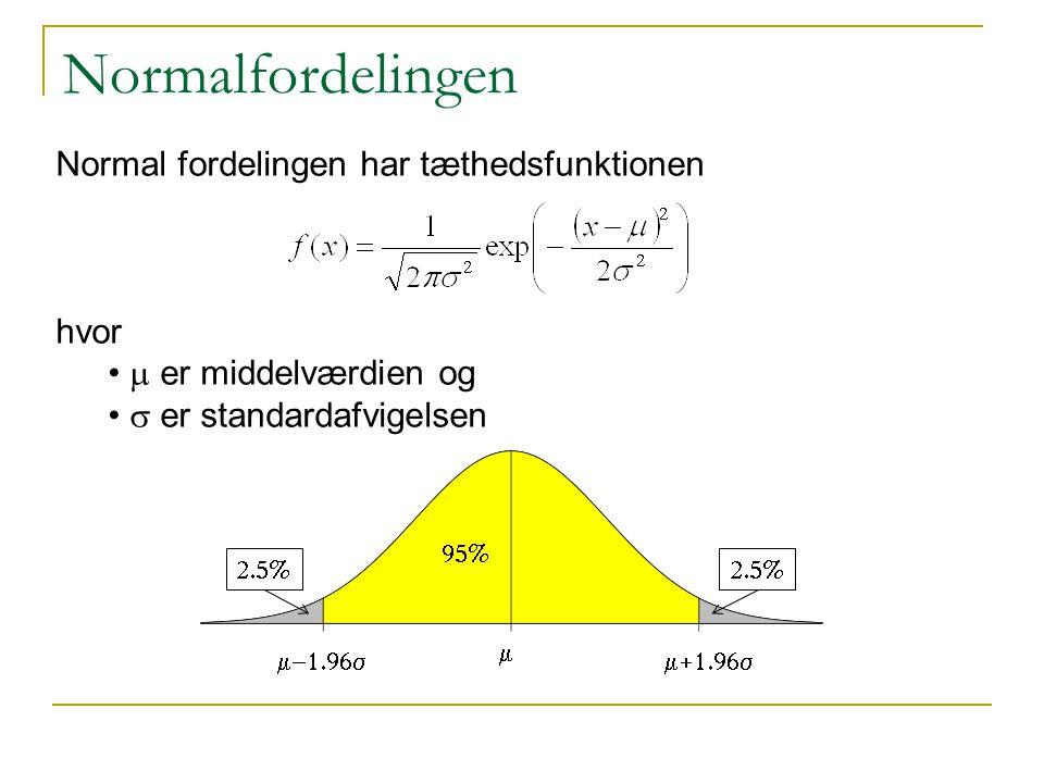 Normalfordelingen Normal fordelingen har tæthedsfunktionen hvor