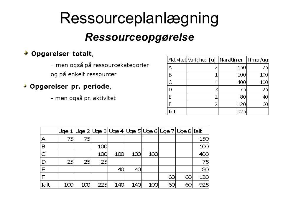 Ressourceplanlægning Ressourceopgørelse
