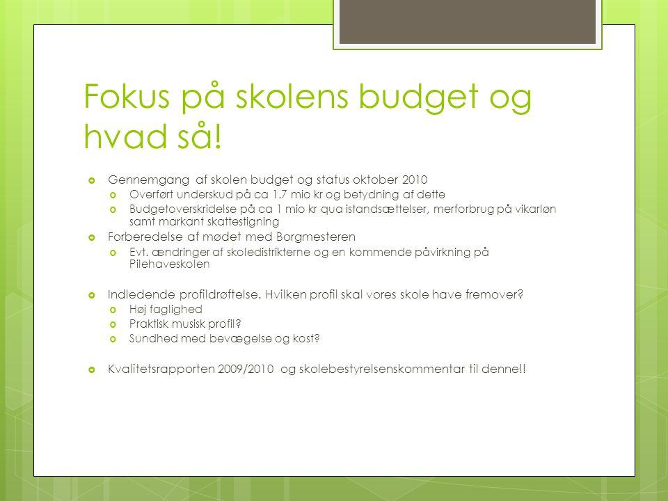 Fokus på skolens budget og hvad så!