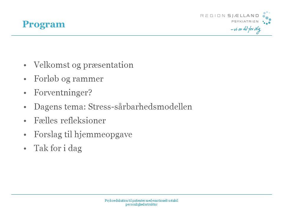 Program Velkomst og præsentation Forløb og rammer Forventninger