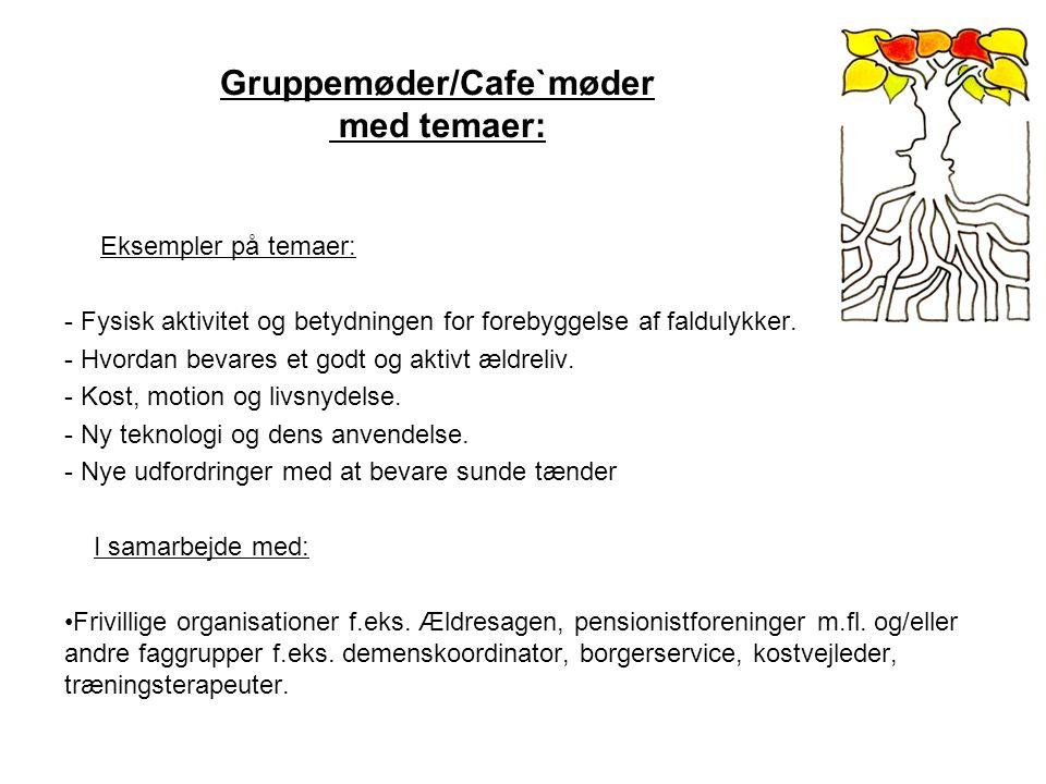 Gruppemøder/Cafe`møder med temaer: