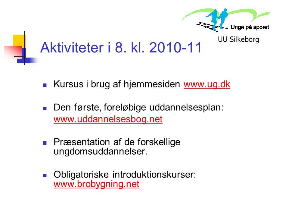 Aktiviteter i 8. kl. 2010-11 Kursus i brug af hjemmesiden www.ug.dk