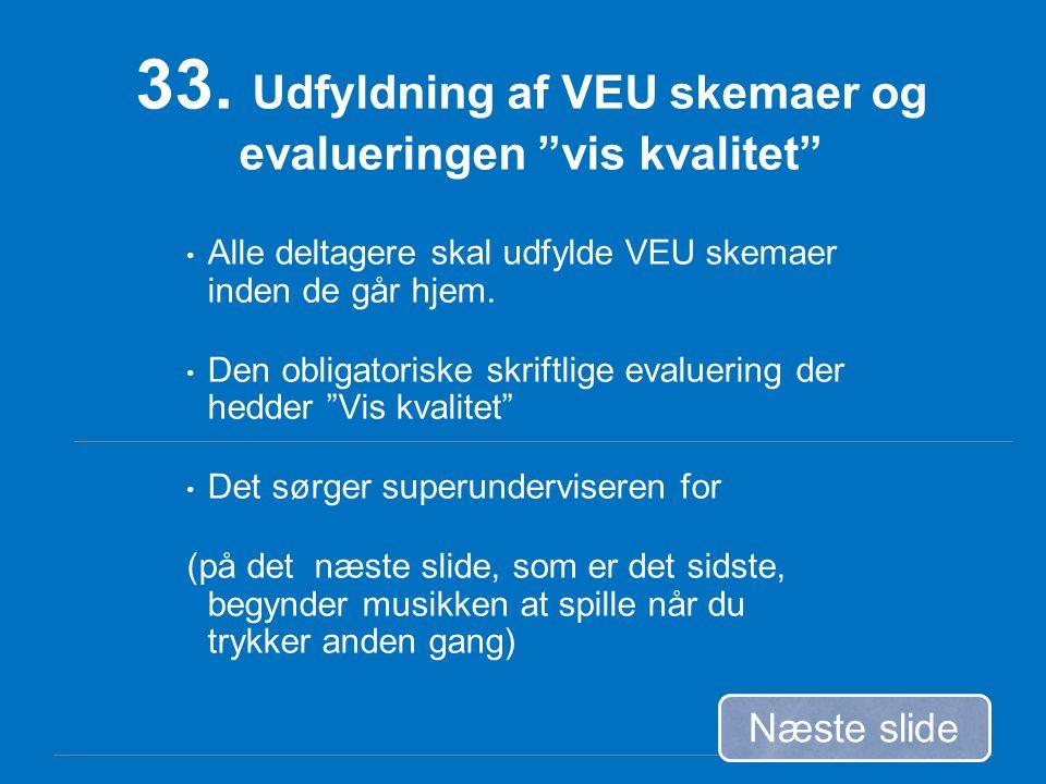 33. Udfyldning af VEU skemaer og evalueringen vis kvalitet