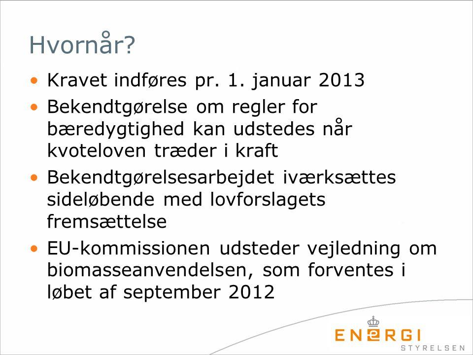 Hvornår Kravet indføres pr. 1. januar 2013