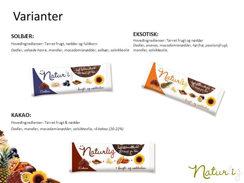 Varianter SOLBÆR: EKSOTISK: Hovedingredienser: Tørret frugt og nødder