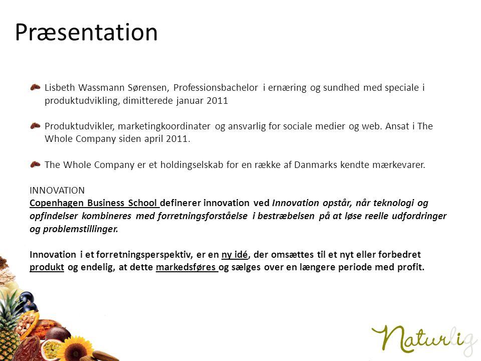 Præsentation Lisbeth Wassmann Sørensen, Professionsbachelor i ernæring og sundhed med speciale i produktudvikling, dimitterede januar 2011.