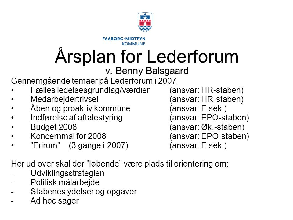 Årsplan for Lederforum v. Benny Balsgaard