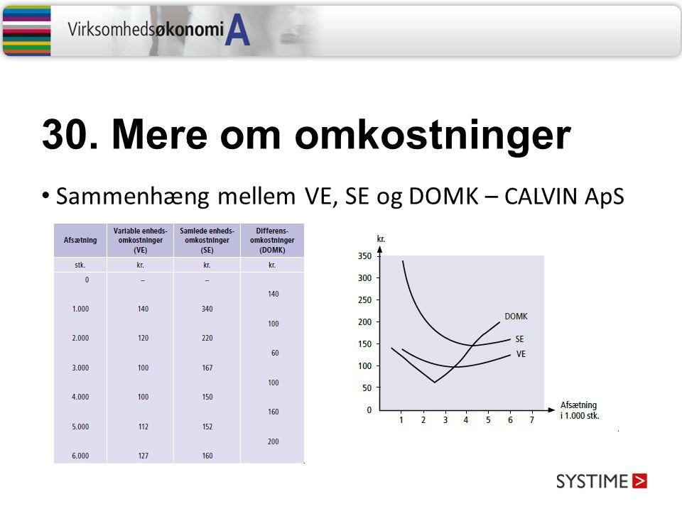 30. Mere om omkostninger Sammenhæng mellem VE, SE og DOMK – CALVIN ApS