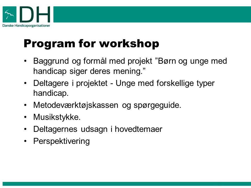 Program for workshop Baggrund og formål med projekt Børn og unge med handicap siger deres mening.