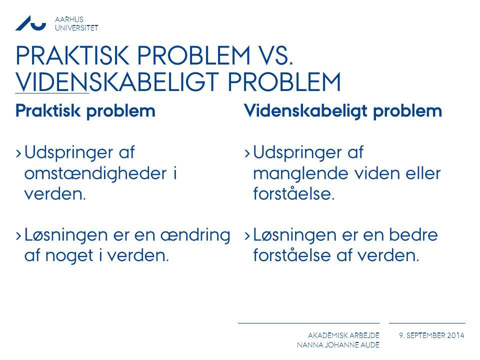 Praktisk problem vs. videnskabeligt problem