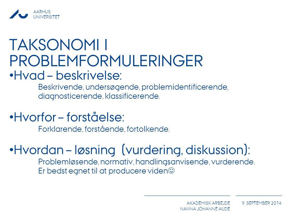 Taksonomi i problemformuleringer