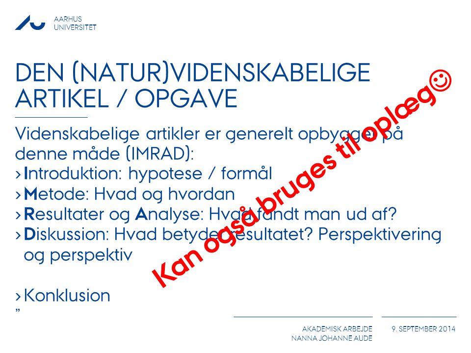 Den (natur)videnskabelige artikel / opgave