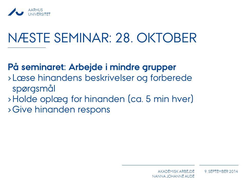 Næste seminar: 28. Oktober