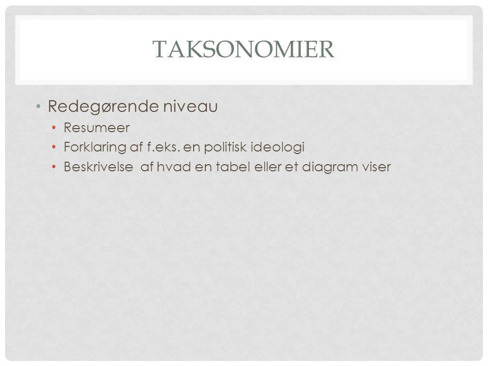 Taksonomier Redegørende niveau Resumeer