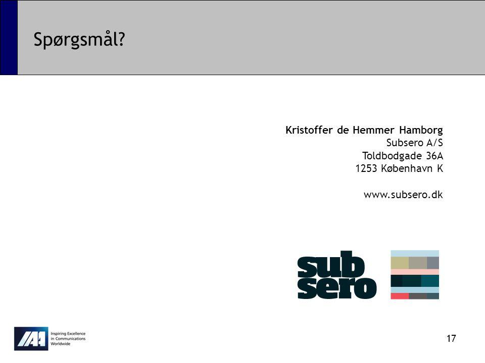 Spørgsmål Kristoffer de Hemmer Hamborg Subsero A/S Toldbodgade 36A