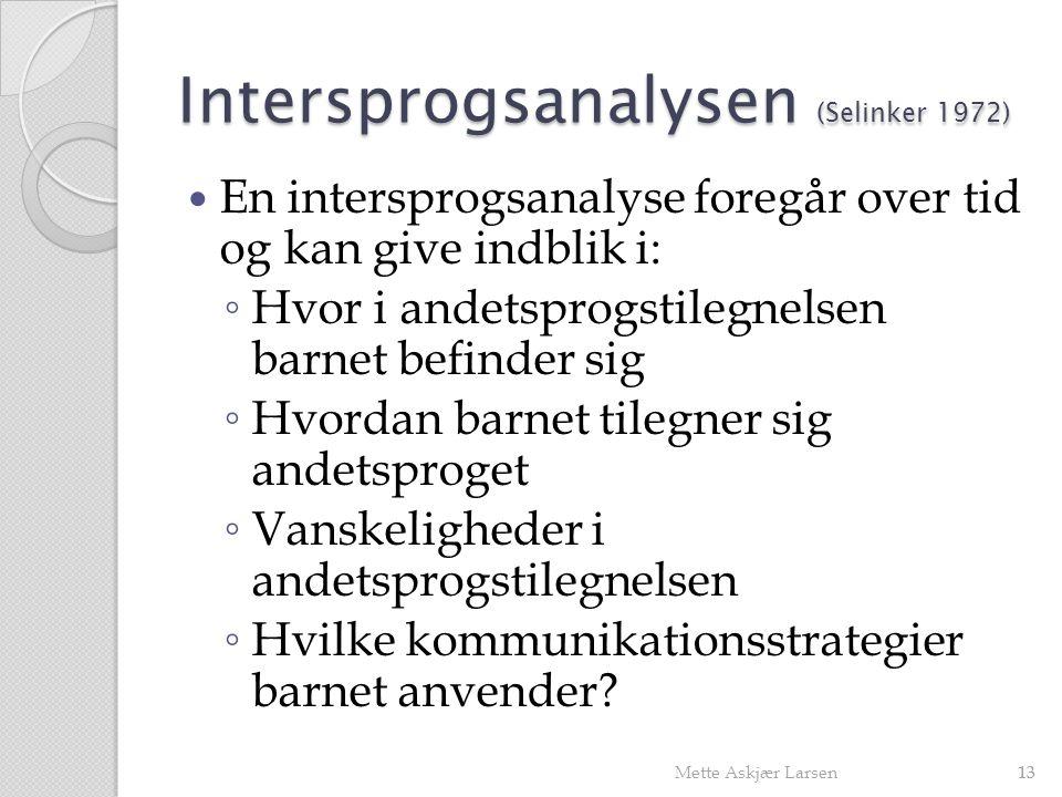 Intersprogsanalysen (Selinker 1972)