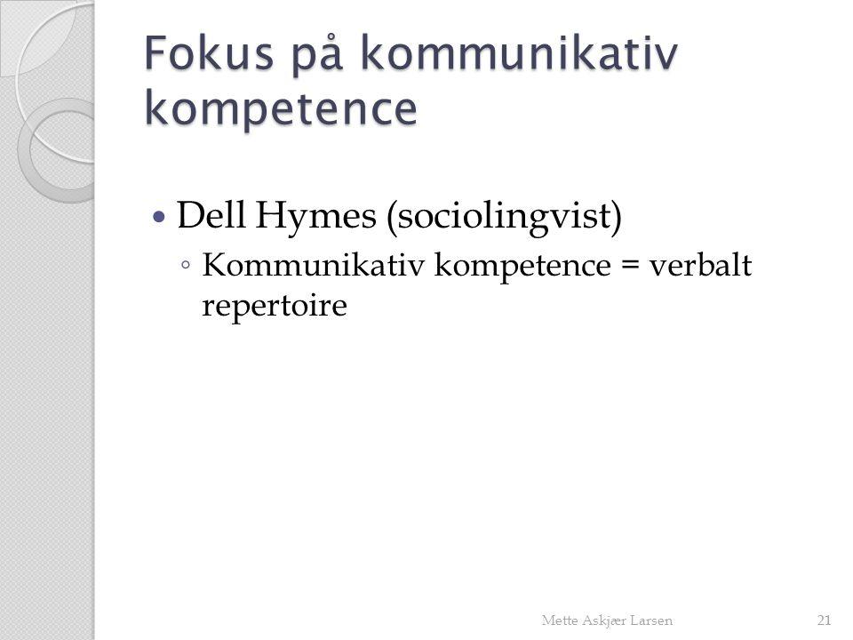 Fokus på kommunikativ kompetence