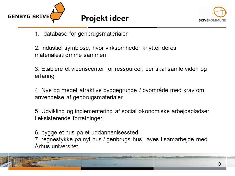 Projekt ideer database for genbrugsmaterialer