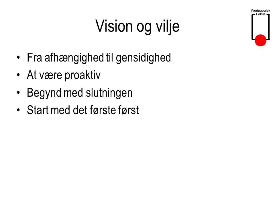 Vision og vilje Fra afhængighed til gensidighed At være proaktiv