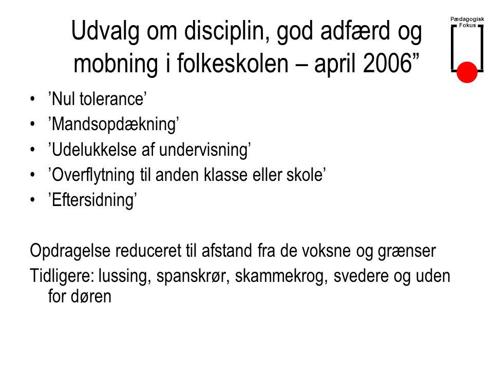 Udvalg om disciplin, god adfærd og mobning i folkeskolen – april 2006