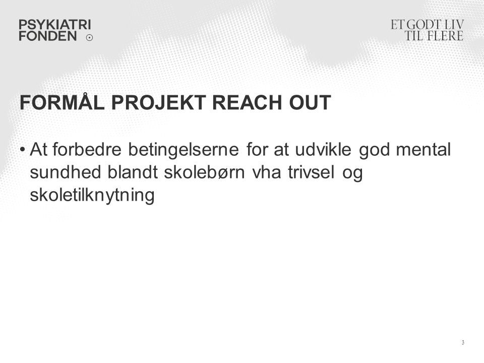 Formål projekt reach out