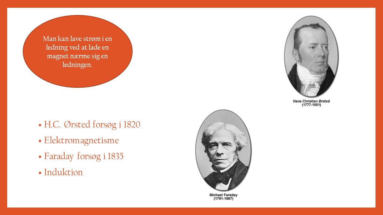 H.C. Ørsted forsøg i 1820 Elektromagnetisme Faraday forsøg i 1835