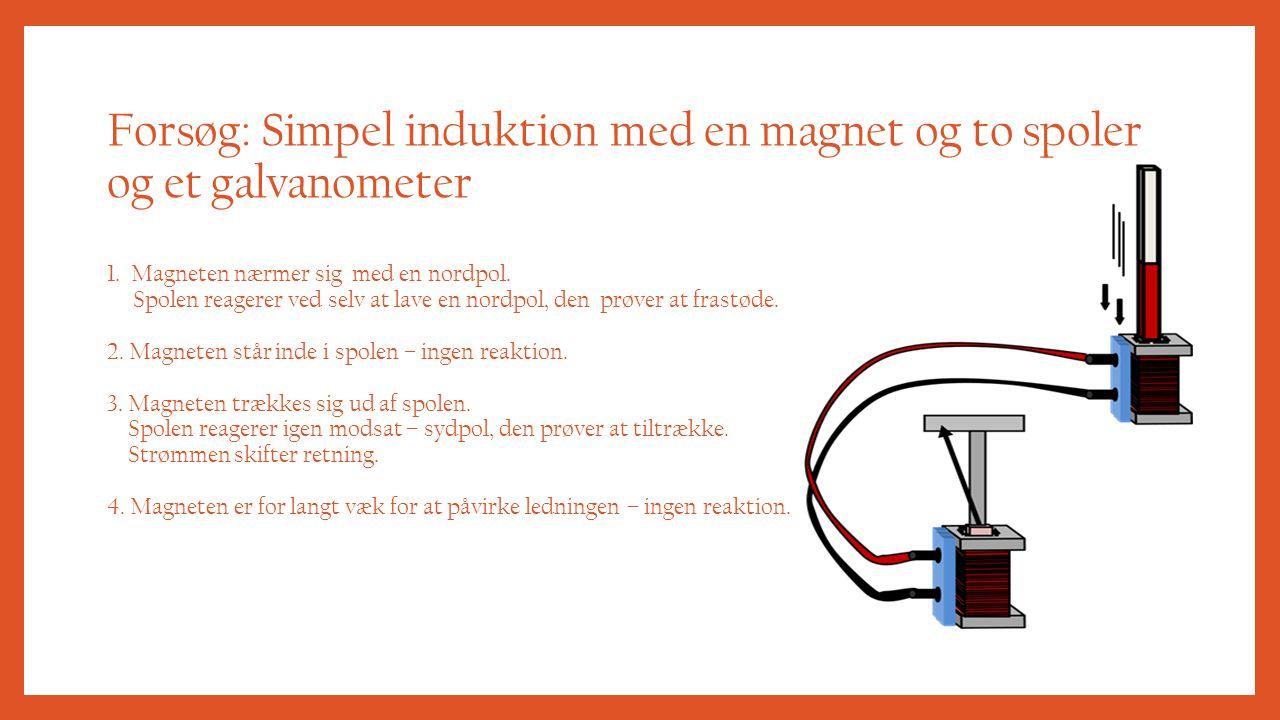 Forsøg: Simpel induktion med en magnet og to spoler og et galvanometer 1.