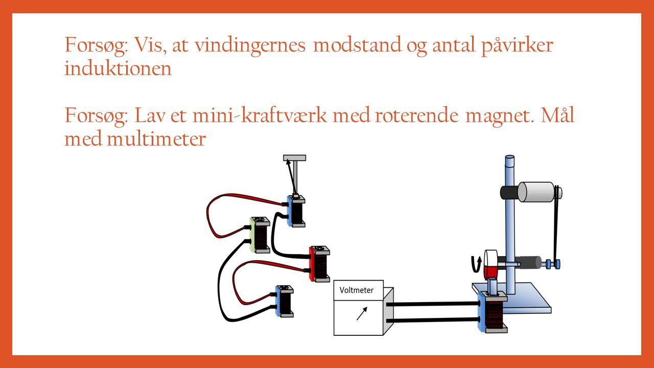 Forsøg: Vis, at vindingernes modstand og antal påvirker induktionen Forsøg: Lav et mini-kraftværk med roterende magnet.