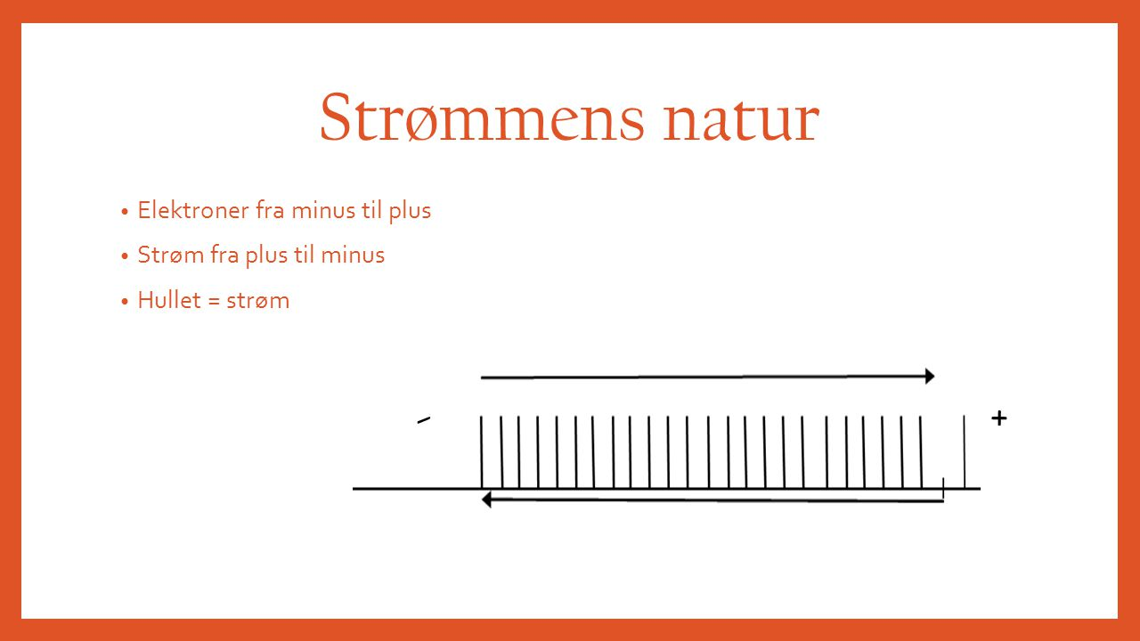Strømmens natur - + Elektroner fra minus til plus