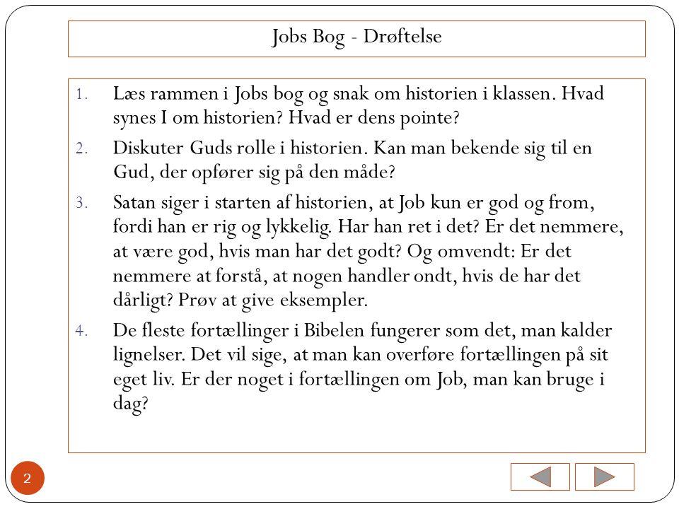 Jobs Bog - Drøftelse Læs rammen i Jobs bog og snak om historien i klassen. Hvad synes I om historien Hvad er dens pointe