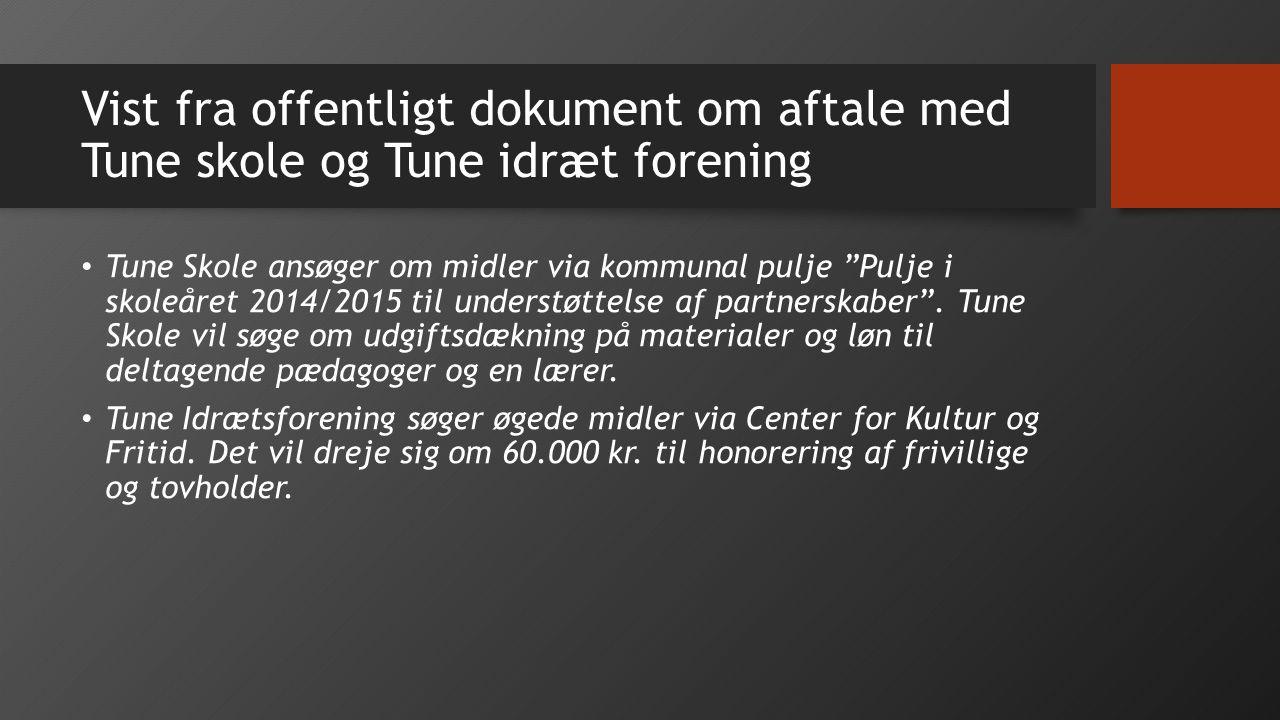 Vist fra offentligt dokument om aftale med Tune skole og Tune idræt forening