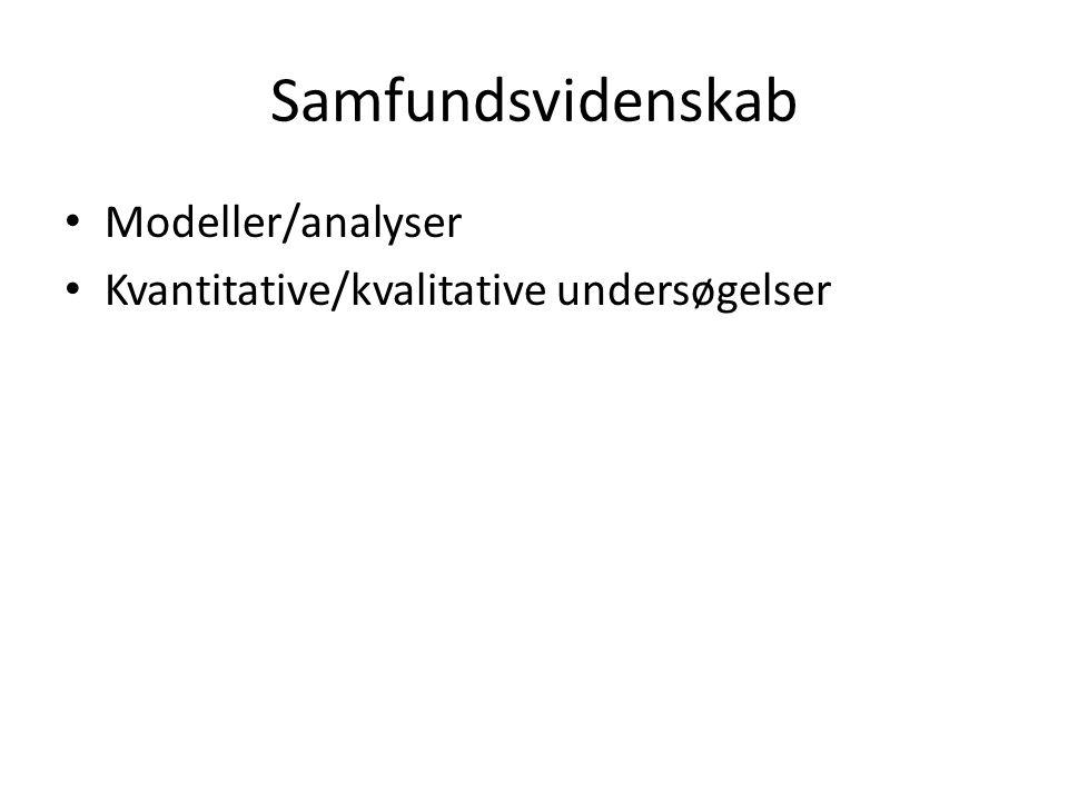 Samfundsvidenskab Modeller/analyser