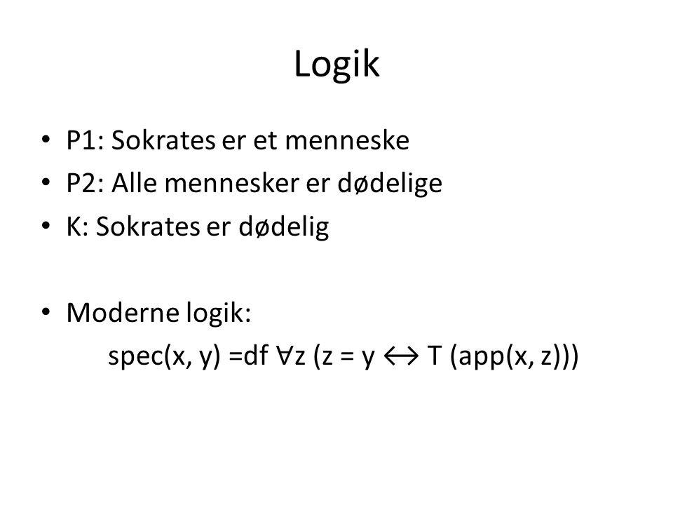 Logik P1: Sokrates er et menneske P2: Alle mennesker er dødelige
