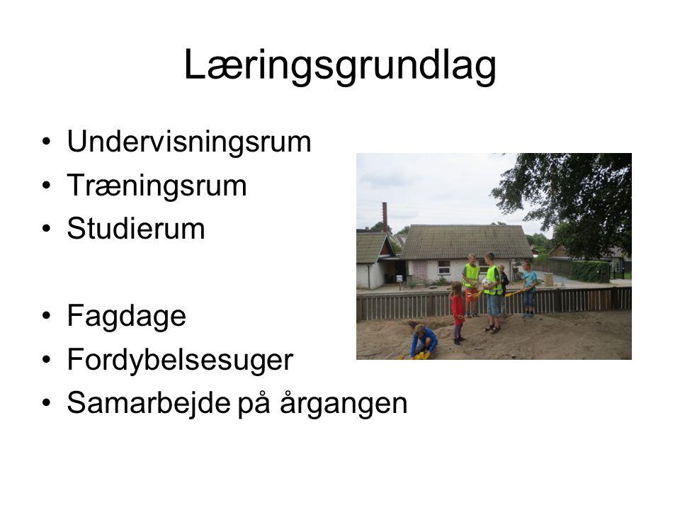 Læringsgrundlag Undervisningsrum Træningsrum Studierum Fagdage