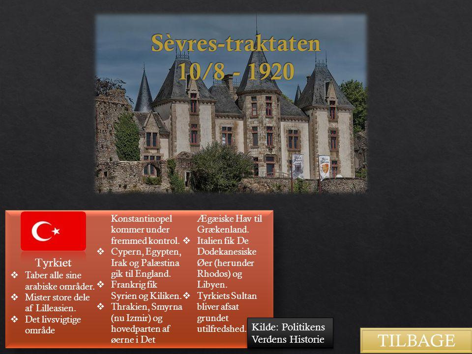 Sèvres-traktaten 10/8 - 1920 TILBAGE Tyrkiet