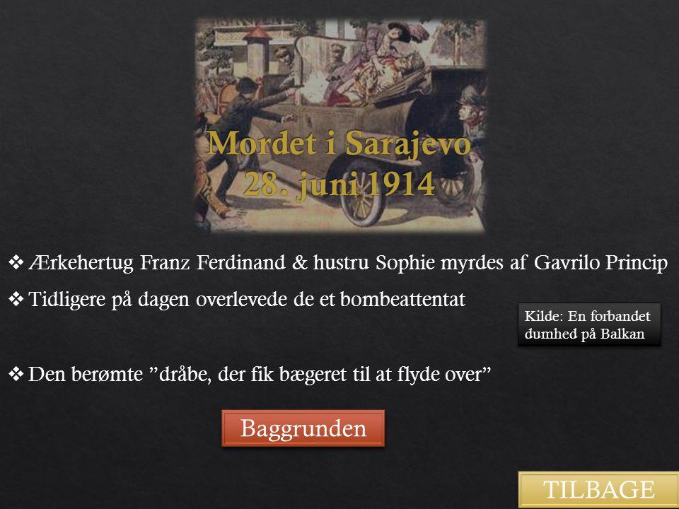 Mordet i Sarajevo 28. juni 1914 Baggrunden TILBAGE